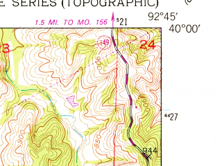Reduced fragment of topographic map en--usgs--024k--031658--(1951)--N040-00-00_W092-52-30--N039-52-30_W092-45-00