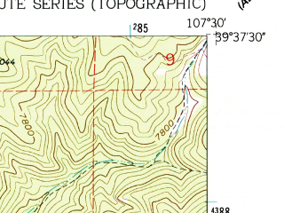 Reduced fragment of topographic map en--usgs--024k--031676--(1962)--N039-37-30_W107-37-30--N039-30-00_W107-30-00; towns and cities New Castle