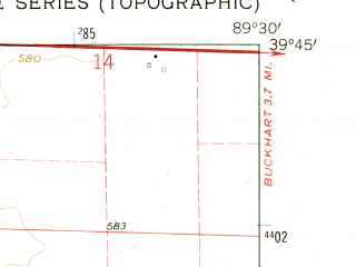 Reduced fragment of topographic map en--usgs--024k--031682--(1961)--N039-45-00_W089-37-30--N039-37-30_W089-30-00; towns and cities Rochester
