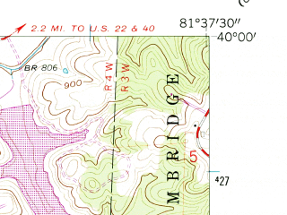 Reduced fragment of topographic map en--usgs--024k--031684--(1961)--N040-00-00_W081-45-00--N039-52-30_W081-37-30; towns and cities New Concord