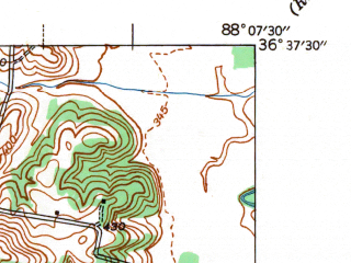 Reduced fragment of topographic map en--usgs--024k--031685--(1942)--N036-37-30_W088-15-00--N036-30-00_W088-07-30