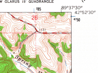 Reduced fragment of topographic map en--usgs--024k--031716--(1962)--N042-52-30_W089-45-00--N042-45-00_W089-37-30; towns and cities New Glarus