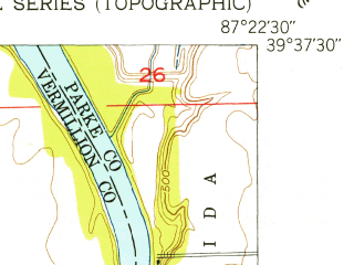 Reduced fragment of topographic map en--usgs--024k--031717--(1950)--N039-37-30_W087-30-00--N039-30-00_W087-22-30; towns and cities Universal