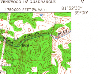 Reduced fragment of topographic map en--usgs--024k--031735--(1958)--N039-00-00_W082-00-00--N038-52-30_W081-52-30; towns and cities Hartford City, New Haven, Racine