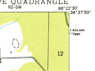 Reduced fragment of topographic map en--usgs--024k--031752--(1936)--N034-37-30_W086-30-00--N034-30-00_W086-22-30; towns and cities New Hope, Owens Crossroads
