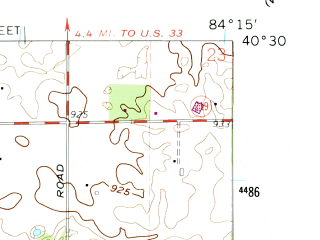Reduced fragment of topographic map en--usgs--024k--031764--(1961)--N040-30-00_W084-22-30--N040-22-30_W084-15-00; towns and cities Kettlersville, New Knoxville