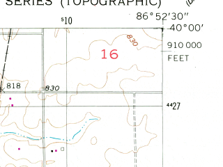 Reduced fragment of topographic map en--usgs--024k--031793--(1956)--N040-00-00_W087-00-00--N039-52-30_W086-52-30; towns and cities New Market