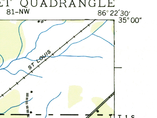 Reduced fragment of topographic map en--usgs--024k--031794--(1936)--N035-00-00_W086-30-00--N034-52-30_W086-22-30; towns and cities New Market