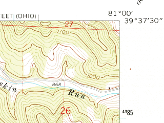 Reduced fragment of topographic map en--usgs--024k--031800--(1960)--N039-37-30_W081-07-30--N039-30-00_W081-00-00; towns and cities Friendly, Matamoras