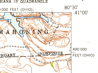 Reduced fragment of topographic map en--usgs--024k--031805--(1951)--N041-00-00_W080-37-30--N040-52-30_W080-30-00; towns and cities New Middletown