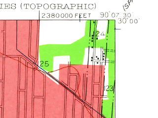 Reduced fragment of topographic map en--usgs--024k--031813--(1951)--N030-00-00_W090-15-00--N029-52-30_W090-07-30; towns and cities Metairie, River Ridge, Westwego, Jefferson, Waggaman