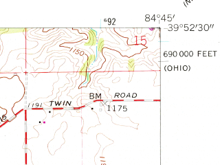 Reduced fragment of topographic map en--usgs--024k--031814--(1960)--N039-52-30_W084-52-30--N039-45-00_W084-45-00; towns and cities New Paris