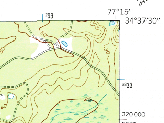 Reduced fragment of topographic map en--usgs--024k--031838--(1952)--N034-37-30_W077-22-30--N034-30-00_W077-15-00