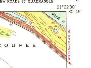Reduced fragment of topographic map en--usgs--024k--031841--(1953)--N030-45-00_W091-30-00--N030-37-30_W091-22-30; towns and cities New Roads