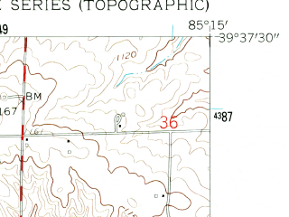 Reduced fragment of topographic map en--usgs--024k--031849--(1959)--N039-37-30_W085-22-30--N039-30-00_W085-15-00