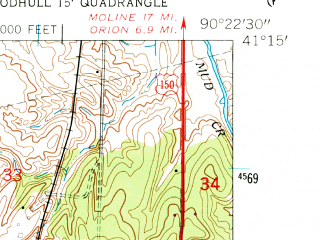 Reduced fragment of topographic map en--usgs--024k--031883--(1953)--N041-15-00_W090-30-00--N041-07-30_W090-22-30; towns and cities New Windsor, Alpha