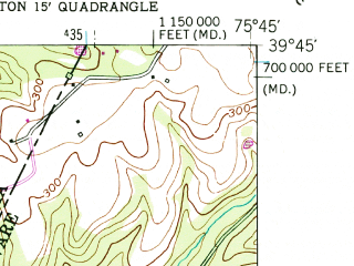 Reduced fragment of topographic map en--usgs--024k--031903--(1953)--N039-45-00_W075-52-30--N039-37-30_W075-45-00; towns and cities Newark