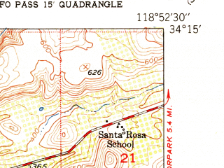 Reduced fragment of topographic map en--usgs--024k--031931--(1951)--N034-15-00_W119-00-00--N034-07-30_W118-52-30; towns and cities Casa Conejo