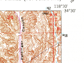 Reduced fragment of topographic map en--usgs--024k--031959--(1952)--N034-30-00_W118-37-30--N034-22-30_W118-30-00; towns and cities Santa Clarita