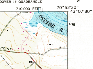 Reduced fragment of topographic map en--usgs--024k--031979--(1956)--N043-07-30_W071-00-00--N043-00-00_W070-52-30; towns and cities Newmarket