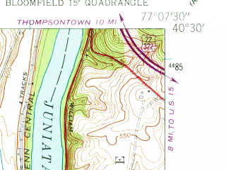 Reduced fragment of topographic map en--usgs--024k--031996--(1952)--N040-30-00_W077-15-00--N040-22-30_W077-07-30; towns and cities Bloomfield, Newport