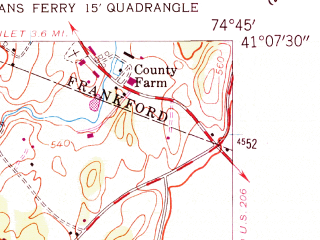 Reduced fragment of topographic map en--usgs--024k--032024--(1954)--N041-07-30_W074-52-30--N041-00-00_W074-45-00; towns and cities Newton, Crandon Lakes