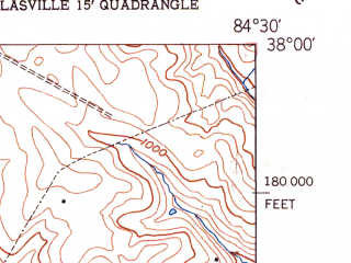 Reduced fragment of topographic map en--usgs--024k--032057--(1952)--N038-00-00_W084-37-30--N037-52-30_W084-30-00; towns and cities Nicholasville