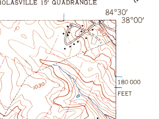Reduced fragment of topographic map en--usgs--024k--032057--(1959)--N038-00-00_W084-37-30--N037-52-30_W084-30-00; towns and cities Nicholasville
