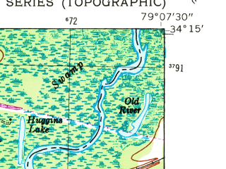 Reduced fragment of topographic map en--usgs--024k--032060--(1948)--N034-15-00_W079-15-00--N034-07-30_W079-07-30; towns and cities Nichols