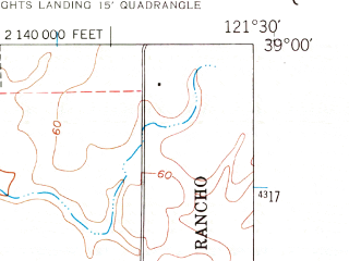 Reduced fragment of topographic map en--usgs--024k--032086--(1952)--N039-00-00_W121-37-30--N038-52-30_W121-30-00