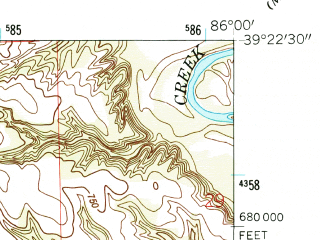 Reduced fragment of topographic map en--usgs--024k--032151--(1962)--N039-22-30_W086-07-30--N039-15-00_W086-00-00; towns and cities Princes Lakes