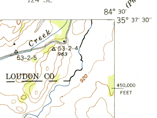 Reduced fragment of topographic map en--usgs--024k--032158--(1942)--N035-37-30_W084-37-30--N035-30-00_W084-30-00; towns and cities Niota