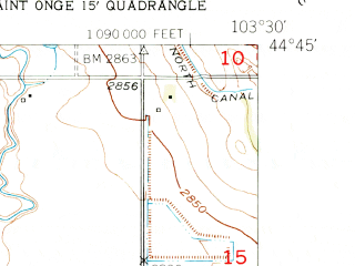 Reduced fragment of topographic map en--usgs--024k--032165--(1951)--N044-45-00_W103-37-30--N044-37-30_W103-30-00; towns and cities Nisland