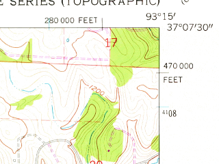 Reduced fragment of topographic map en--usgs--024k--032171--(1960)--N037-07-30_W093-22-30--N037-00-00_W093-15-00; towns and cities Fremont Hills, Nixa, Battlefield
