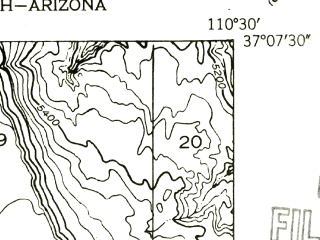 Reduced fragment of topographic map en--usgs--024k--032186--(1952)--N037-07-30_W110-37-30--N037-00-00_W110-30-00