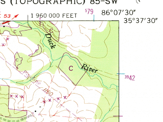 Reduced fragment of topographic map en--usgs--024k--032189--(1956)--N035-37-30_W086-15-00--N035-30-00_W086-07-30
