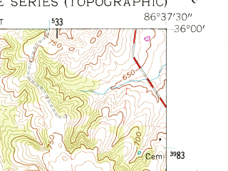Reduced fragment of topographic map en--usgs--024k--032223--(1957)--N036-00-00_W086-45-00--N035-52-30_W086-37-30; towns and cities Nolensville