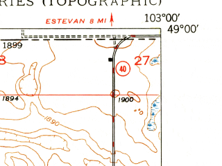 Reduced fragment of topographic map en--usgs--024k--032236--(1949)--N049-00-00_W103-07-30--N048-52-30_W103-00-00; towns and cities Noonan