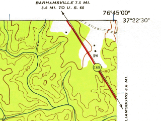Reduced fragment of topographic map en--usgs--024k--032266--(1952)--N037-22-30_W076-52-30--N037-15-00_W076-45-00