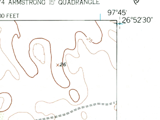 Reduced fragment of topographic map en--usgs--024k--032268--(1956)--N026-52-30_W097-52-30--N026-45-00_W097-45-00