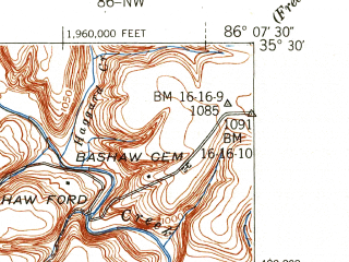 Reduced fragment of topographic map en--usgs--024k--032285--(1941)--N035-30-00_W086-15-00--N035-22-30_W086-07-30