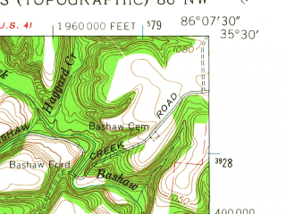Reduced fragment of topographic map en--usgs--024k--032285--(1962)--N035-30-00_W086-15-00--N035-22-30_W086-07-30