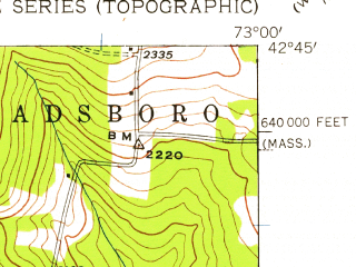 Reduced fragment of topographic map en--usgs--024k--032304--(1944)--N042-45-00_W073-07-30--N042-37-30_W073-00-00; towns and cities North Adams, Adams
