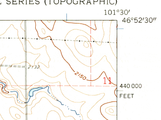 Reduced fragment of topographic map en--usgs--024k--032305--(1960)--N046-52-30_W101-37-30--N046-45-00_W101-30-00