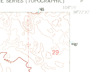Reduced fragment of topographic map en--usgs--024k--032308--(1960)--N038-22-30_W104-22-30--N038-15-00_W104-15-00; towns and cities Boone
