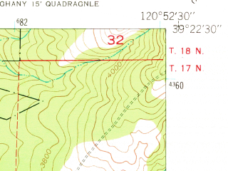 Reduced fragment of topographic map en--usgs--024k--032323--(1949)--N039-22-30_W121-00-00--N039-15-00_W120-52-30 in area of Scotts Flat Reservoir