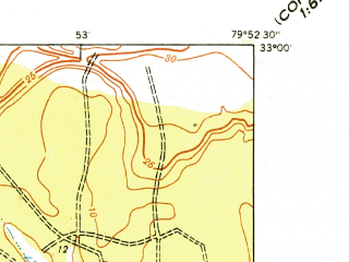 Reduced fragment of topographic map en--usgs--024k--032338--(1940)--N033-00-00_W080-00-00--N032-52-30_W079-52-30; towns and cities Goose Creek