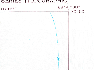 Reduced fragment of topographic map en--usgs--024k--032380--(1951)--N030-00-00_W088-55-00--N029-52-30_W088-47-30