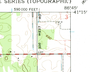 Reduced fragment of topographic map en--usgs--024k--032381--(1959)--N041-15-00_W086-52-30--N041-07-30_W086-45-00; towns and cities North Judson