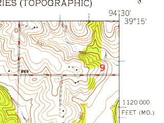 Reduced fragment of topographic map en--usgs--024k--032383--(1948)--N039-15-00_W094-37-30--N039-07-30_W094-30-00; towns and cities Gladstone, Oakview, Oakwood, Oakwood Park